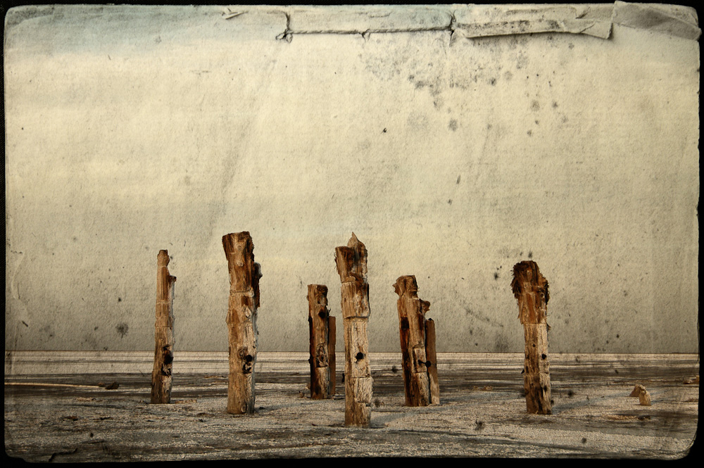 Abandoned piers on the Great Salt Lake