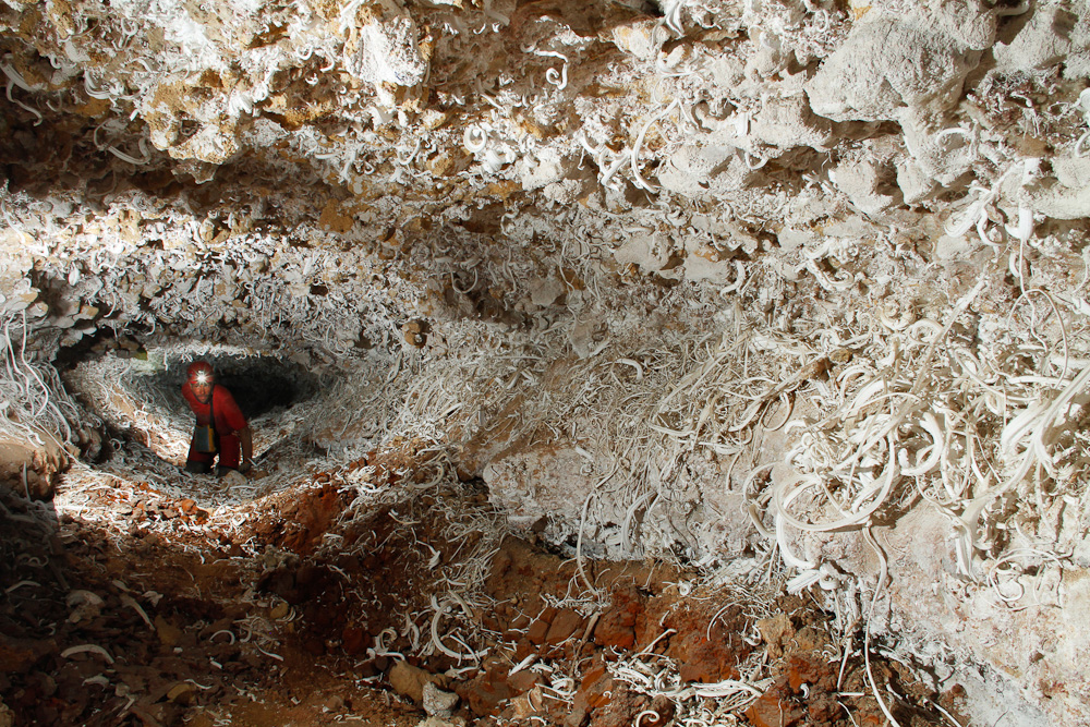 Stan Allison explores a new passage in an Arizona Cave