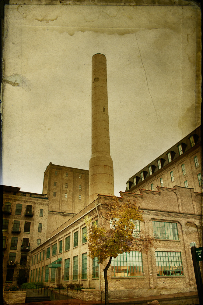Old factory smoke stack in downtown Minneapolis
