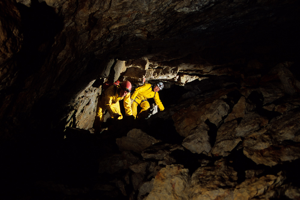 Dave and Ryan Shurtz explore an offshoot of Main Drain Cave